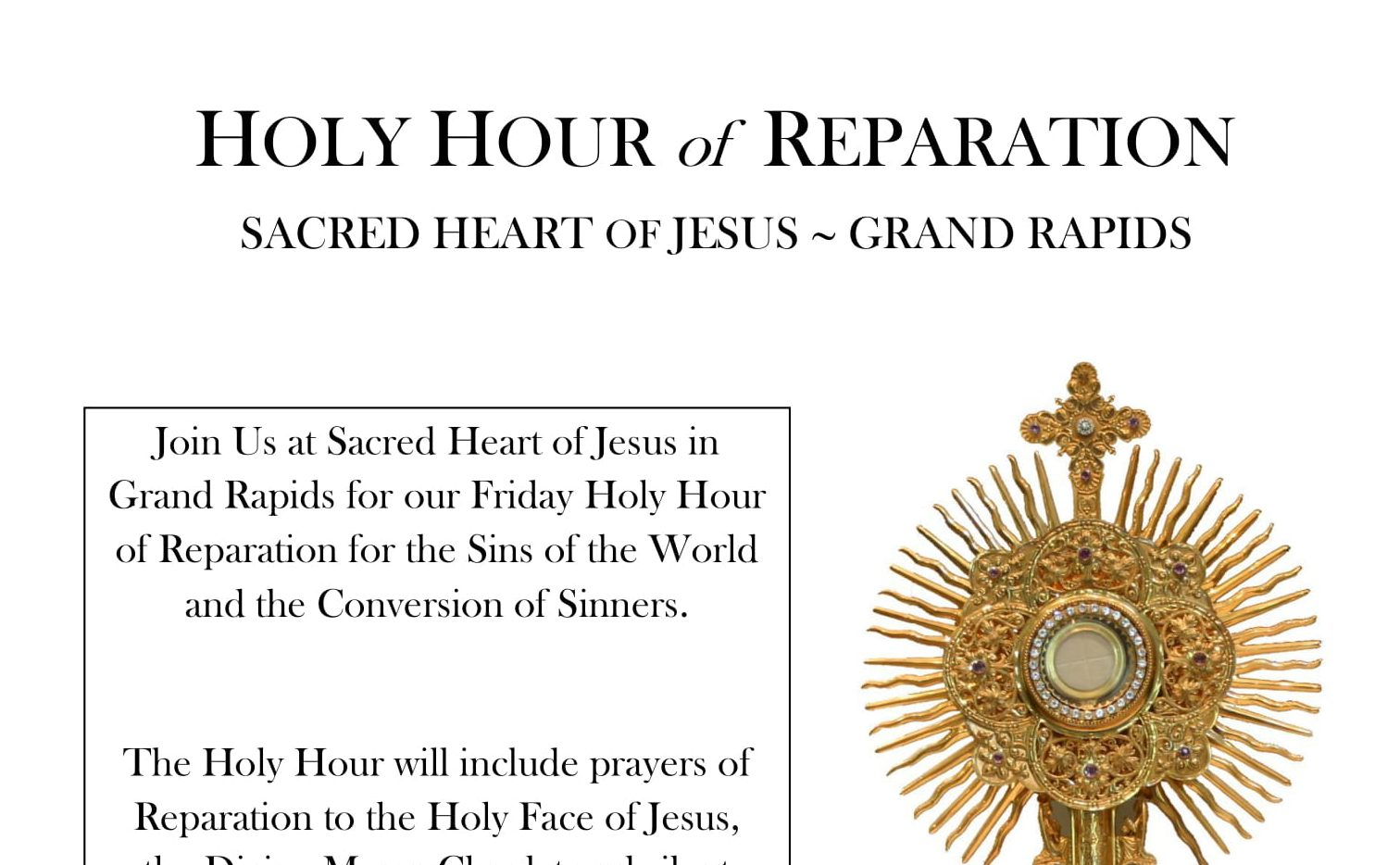 Friday Holy Hour of Reparation