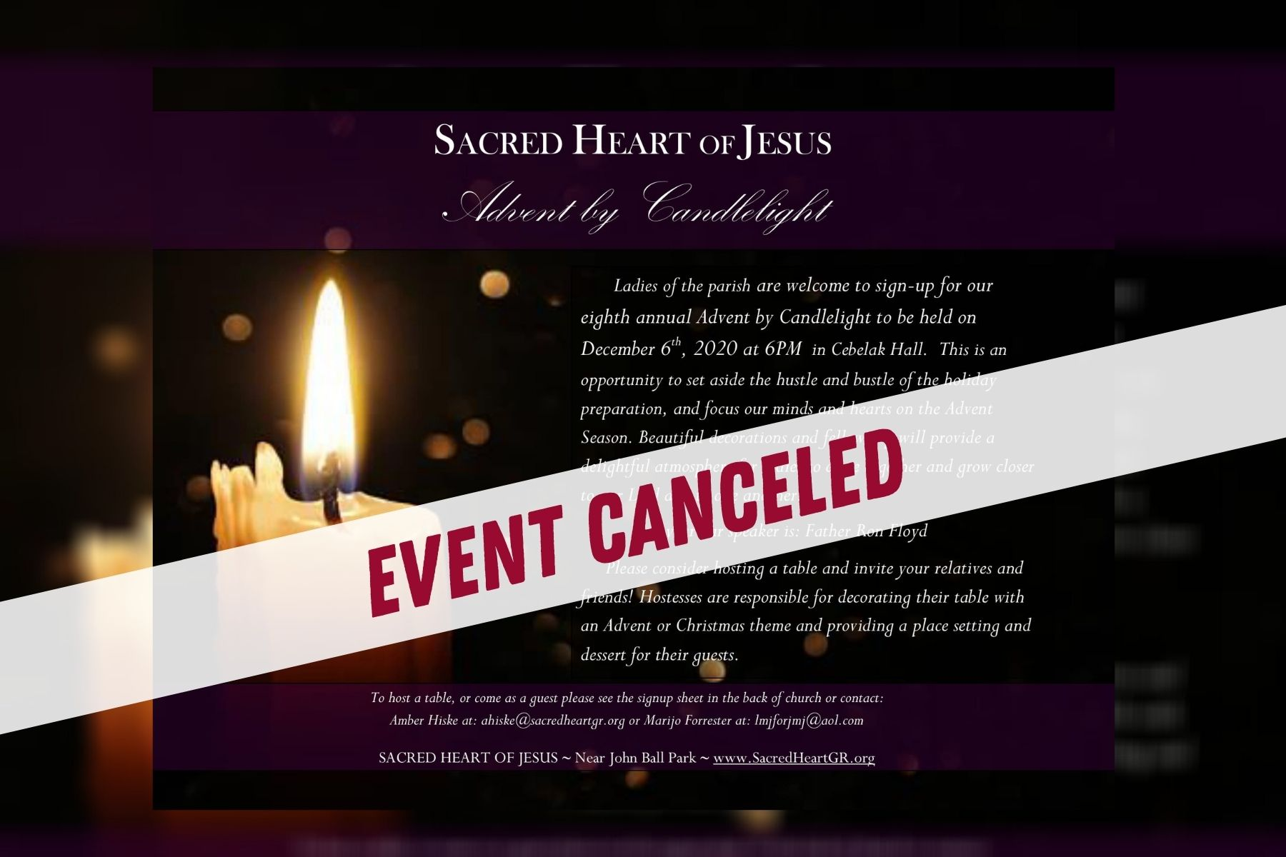 Advent by Candlelight – Canceled.